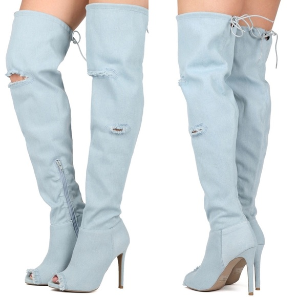 af063f10e84 👖Frayed Light Denim Peep Toe Thigh Boots